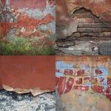 Uppsättning av texturer av den wal gamla skadade tegelstenen Arkivfoton