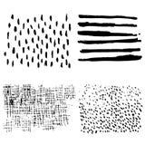 Uppsättning av texturer med linjer och prickar Arkivbild