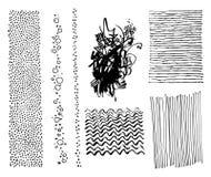 Uppsättning av texturer och borstar för hipster för handteckningsmarkör moderiktiga Arkivfoton