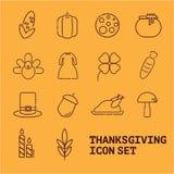 Uppsättning av Thanksgivin symboler Arkivbilder