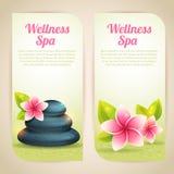 Uppsättning av thematical brunnsortkort med wellnessobjekt Arkivfoto