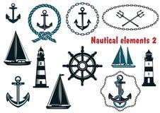 Uppsättning av themed beståndsdelar för nautisk heraldik vektor illustrationer