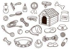 Uppsättning av tillbehör för hundkapplöpning royaltyfri illustrationer