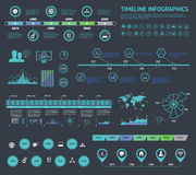 Uppsättning av timelinen Infographic med diagram och text Vektorbegreppsillustration för affärspresentationen, häftet, webbplatse Royaltyfria Bilder