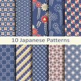 Uppsättning av tio japanska modeller stock illustrationer