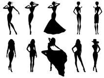 Uppsättning av tio kvinnliga konturer över vit stock illustrationer