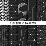 Uppsättning av tio sömlösa modeller vektor illustrationer