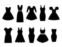 Uppsättning av tio svarta klänningar också vektor för coreldrawillustration Arkivfoton