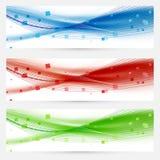 Uppsättning av titelrader för rengöringsduk för abstrakt begrepp för swooshhastighetsvåg Royaltyfri Foto