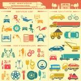 Uppsättning av tjänste- beståndsdelar för auto reparation för att skapa din egen infogr Royaltyfria Bilder