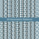 Uppsättning av tjugo geometriska modeller för sömlös vektor design för tegelplattor, räkning, textil Arkivbild
