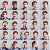 Uppsättning av tjugofem bilder av ung man med olika gester och sinnesrörelser royaltyfria bilder