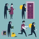 Uppsättning av tjuvrånareinbrottstjuven som försöker att stjäla pengar vektor illustrationer