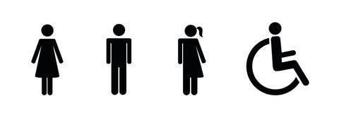Uppsättning av toalettsymboler inklusive neutral symbolspictogram för genus royaltyfri illustrationer