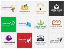 Uppsättning av tolv symboler för affärslogoer Royaltyfria Bilder