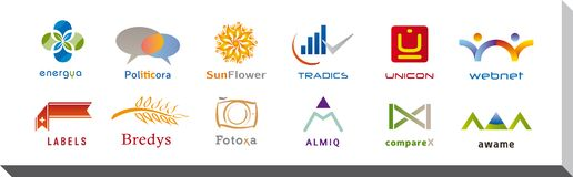 Uppsättning av tolv symboler och Logo Designs - multipelfärger och beståndsdelar Royaltyfri Fotografi