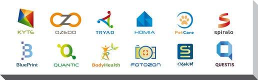 Uppsättning av tolv symboler och Logo Designs - multipelfärger och beståndsdelar Arkivfoto
