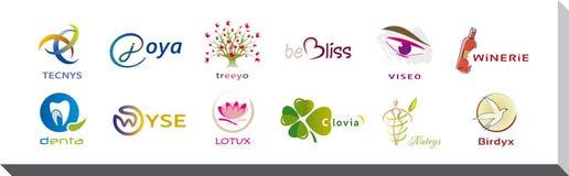 Uppsättning av tolv symboler och Logo Designs - multipelfärger och beståndsdelar Arkivbilder