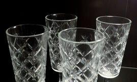 Uppsättning av tom lyxig tappning Crystal Glasses Royaltyfri Fotografi