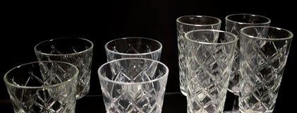 Uppsättning av tom lyxig tappning Crystal Glasses Royaltyfria Foton