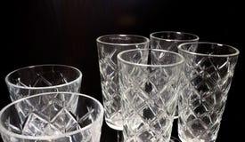 Uppsättning av tom lyxig tappning Crystal Glasses Fotografering för Bildbyråer
