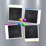 Uppsättning av tomma fotoramar med färgrika magneter på Fotografering för Bildbyråer