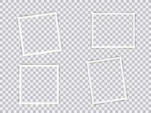 Uppsättning av tomma isolerade fotoramar med skuggaeffekter på genomskinlig bakgrund Tappningfotoram för din bild stock illustrationer