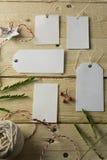 Uppsättning av tomma pappers- prislappar, träbakgrund Arkivfoto