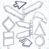 Uppsättning av tomma pekare, pilar och vägmärken Arkivbild