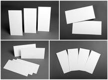 Uppsättning av tomma vita reklamblad över grå bakgrund Identitetsdesign Arkivbild