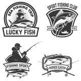 Uppsättning av tonfiskfiskeetiketterna Designbeståndsdelar för logo, emblem royaltyfri illustrationer