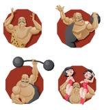 Uppsättning av torsocirkusen som ler den starka mannen Royaltyfria Bilder