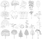 Uppsättning av träd, buskar, växter. Sidosikt. Royaltyfri Bild