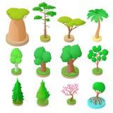Uppsättning av 12 träd i isometrisk stil 3d Royaltyfria Bilder