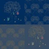 Uppsättning av träd och stearinljus för 4 sömlösa texturer magiskt Royaltyfri Illustrationer