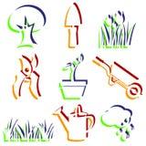 Uppsättning av trädgårds- symboler. arkivfoton