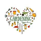 Uppsättning av trädgårds- utrustning Royaltyfri Bild