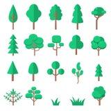 Uppsättning av trädillustrationer i plan stil som isoleras på vit bakgrund Planlägg beståndsdelen för presentation, affischen, ba Fotografering för Bildbyråer