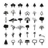 Uppsättning av trädsymboler Royaltyfri Bild