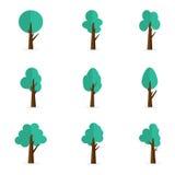 Uppsättning av trädvektorlägenheten Arkivfoton