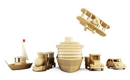Uppsättning av träleksaker - olika typer av transport vektor illustrationer
