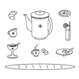 Uppsättning av traditionella symboler för frukostmålklotter Royaltyfria Foton