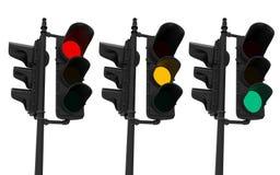 Uppsättning av trafikljus som isoleras på vit stock illustrationer