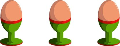 Uppsättning av tre ägg i äggkopphållare stock illustrationer