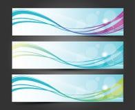 Uppsättning av tre baner, abstrakta titelrader med belysningvågen Arkivbilder