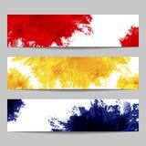Uppsättning av tre baner med målarfärgfärgstänk Royaltyfria Foton