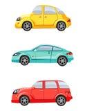 Uppsättning av tre bilar Arkivfoto