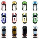 Uppsättning av tre bilar i fyra olika färger Royaltyfri Fotografi