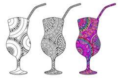 Uppsättning av tre dekorativa exponeringsglas med en coctail vektor illustrationer