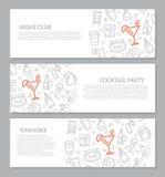 Uppsättning av tre digitala nattklubb- och coctailstånghorisontalbaner med symbolsmodellen också vektor för coreldrawillustration stock illustrationer